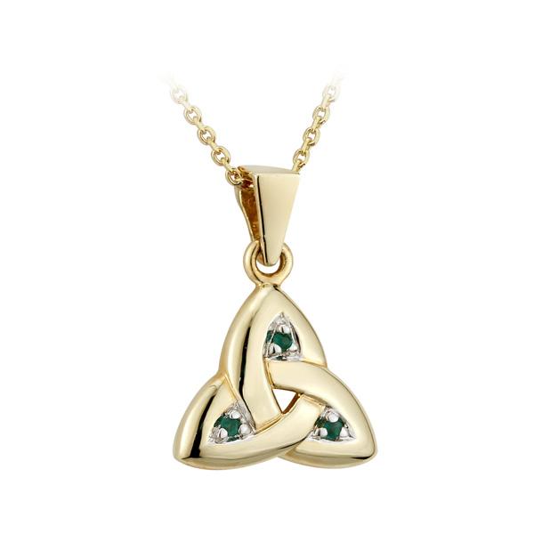 Gold Trinity Knot Emerald