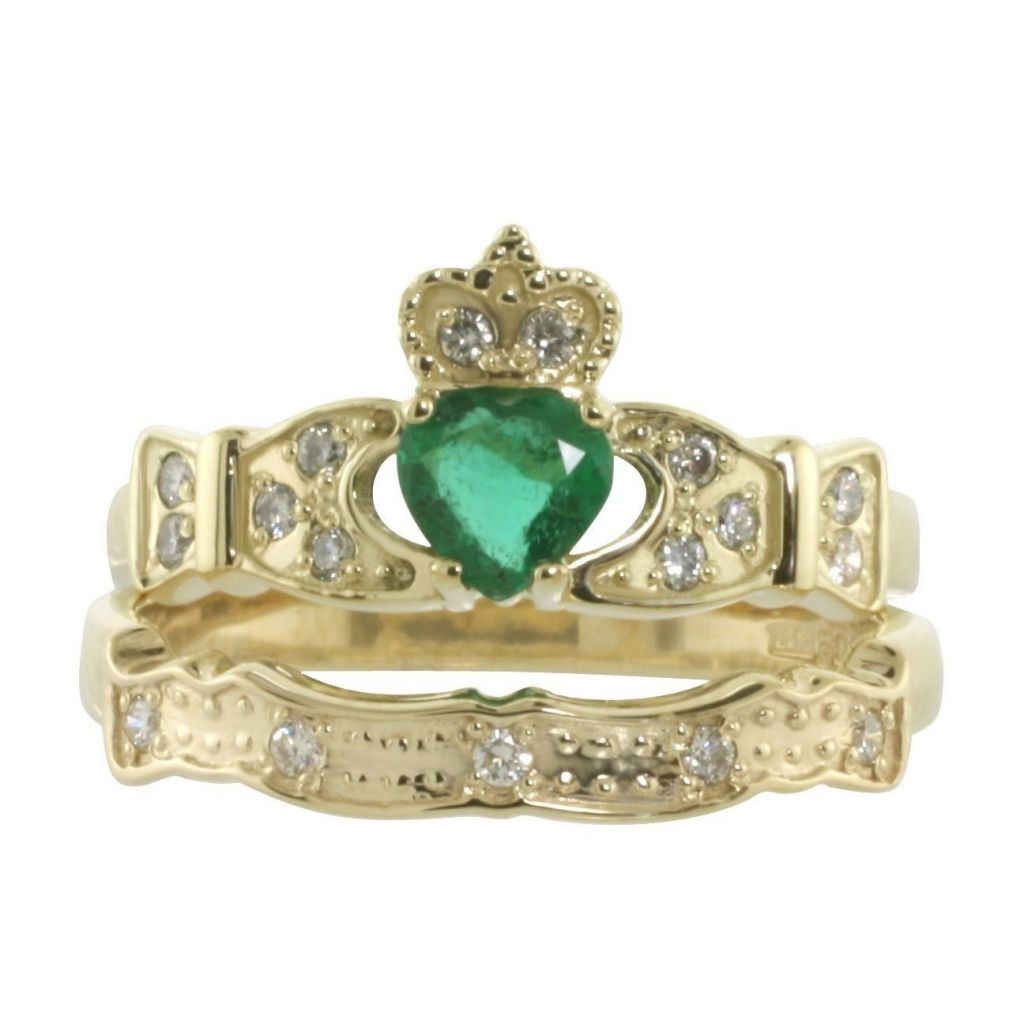 Engagement Rings Galway: 14K Emerald & Diamond Claddagh Engagement & Wedding Ring