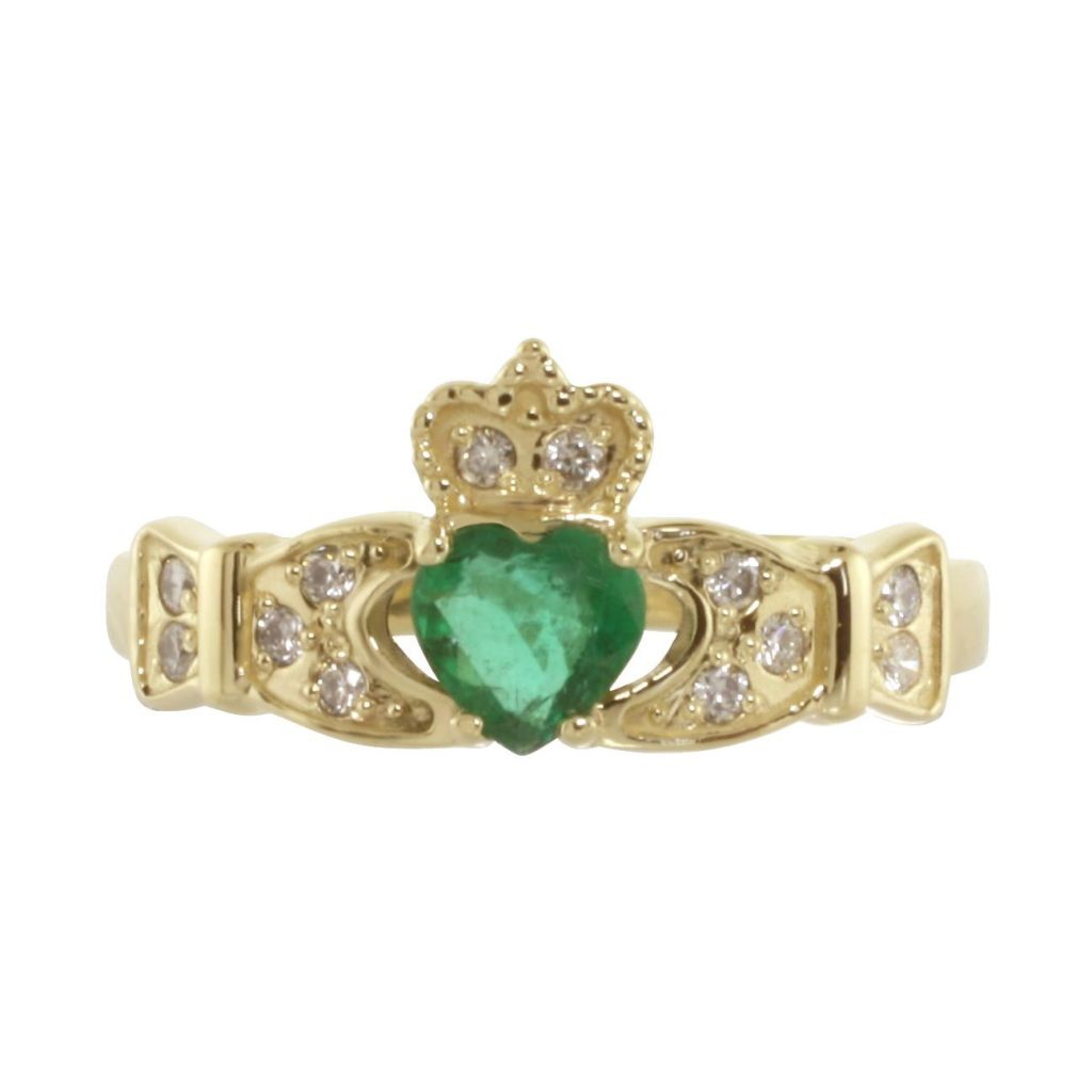 14k emerald amp diamond claddagh engagement ring fallers