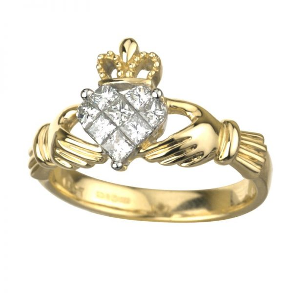 Engagement Rings Galway: 14K Gold Diamond Claddagh Ring