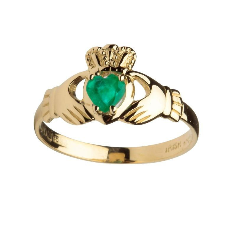 Engagement Rings Galway: 14K Gold Emerald Claddagh Ring