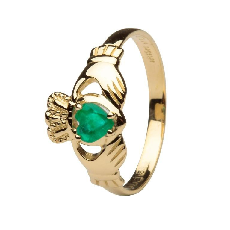 14k Gold Emerald Claddagh Ring Shanore Fallers Ie