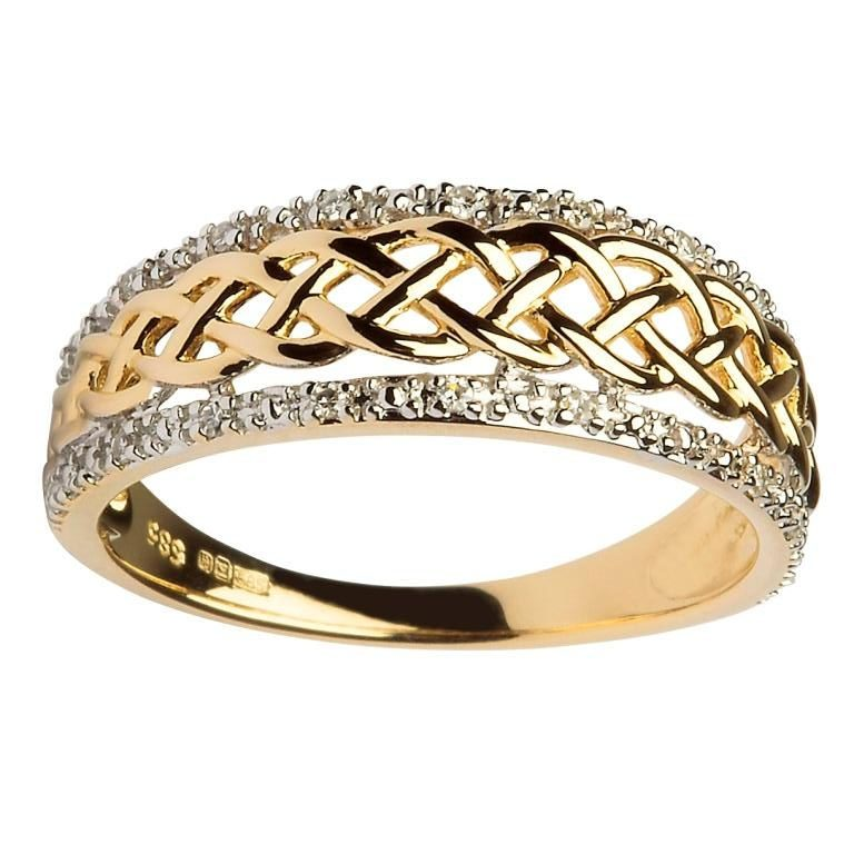 Engagement Rings Galway: 14K Gold Ladies Celtic Knot Diamond Ring