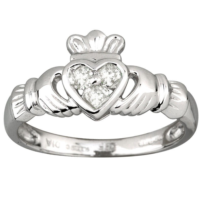 14k white gold diamond heart claddagh ring solvar. Black Bedroom Furniture Sets. Home Design Ideas