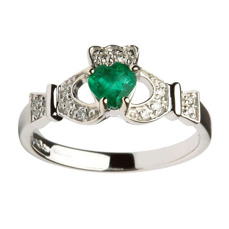 Engagement Rings Galway: 14K White Gold Emerald & Diamond Claddagh Ring