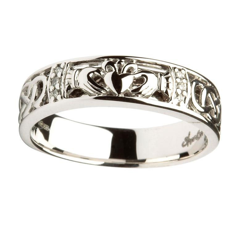 Engagement Rings Galway: 14K White Gold Ladies Diamond Claddagh & Celtic Ring