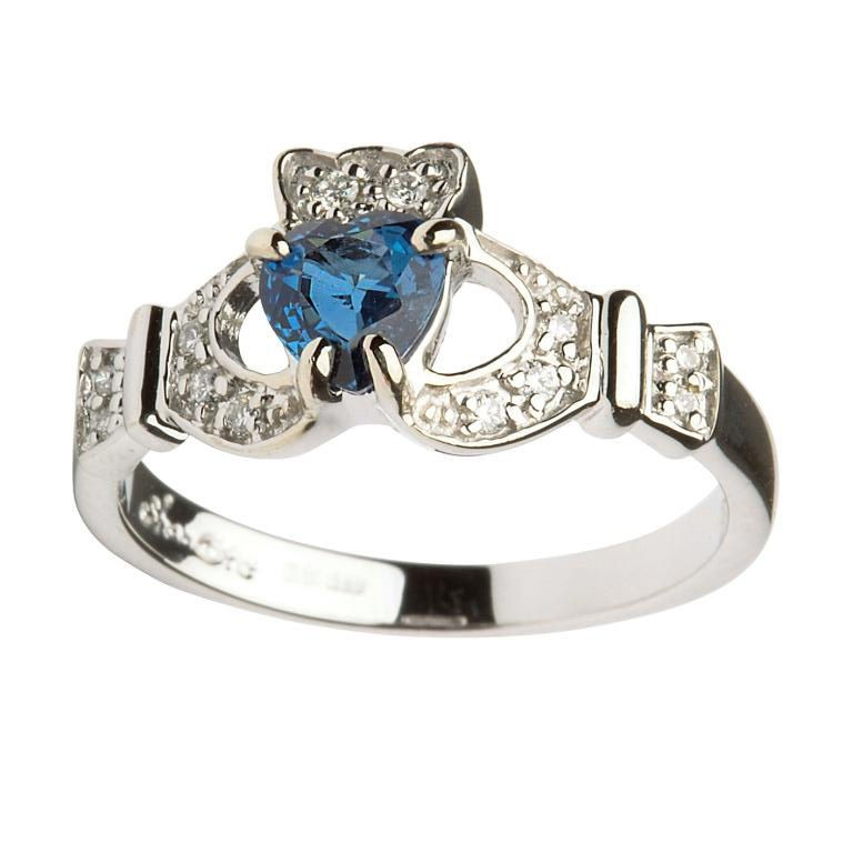 14k white gold sapphire diamond claddagh ring fallers. Black Bedroom Furniture Sets. Home Design Ideas