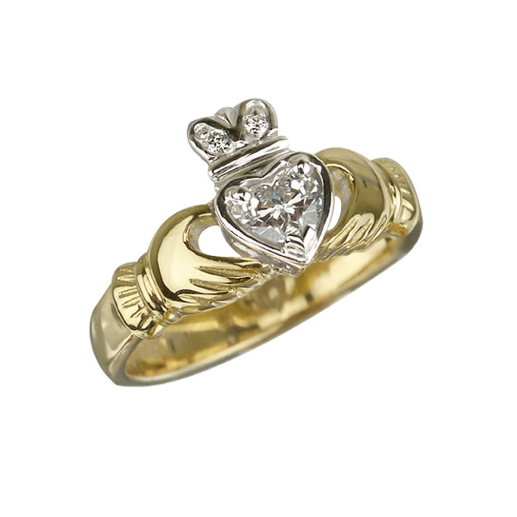 Engagement Rings Galway: 18k_gold_diamond_claddagh_engagement_ring.jpg