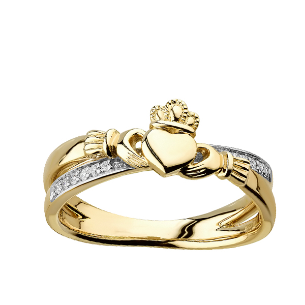 Engagement Rings Galway: Diamond Claddagh Kiss 14K Gold Ring