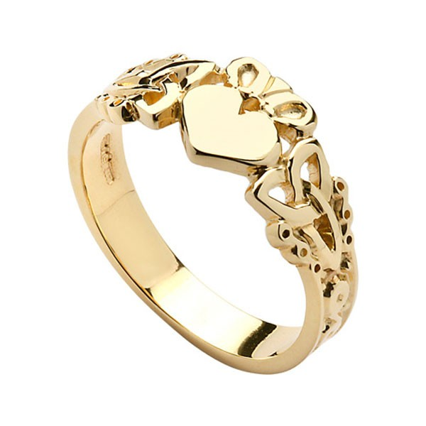 Engagement Rings Galway: Gents Claddagh & Trinity Ring In 14K Gold