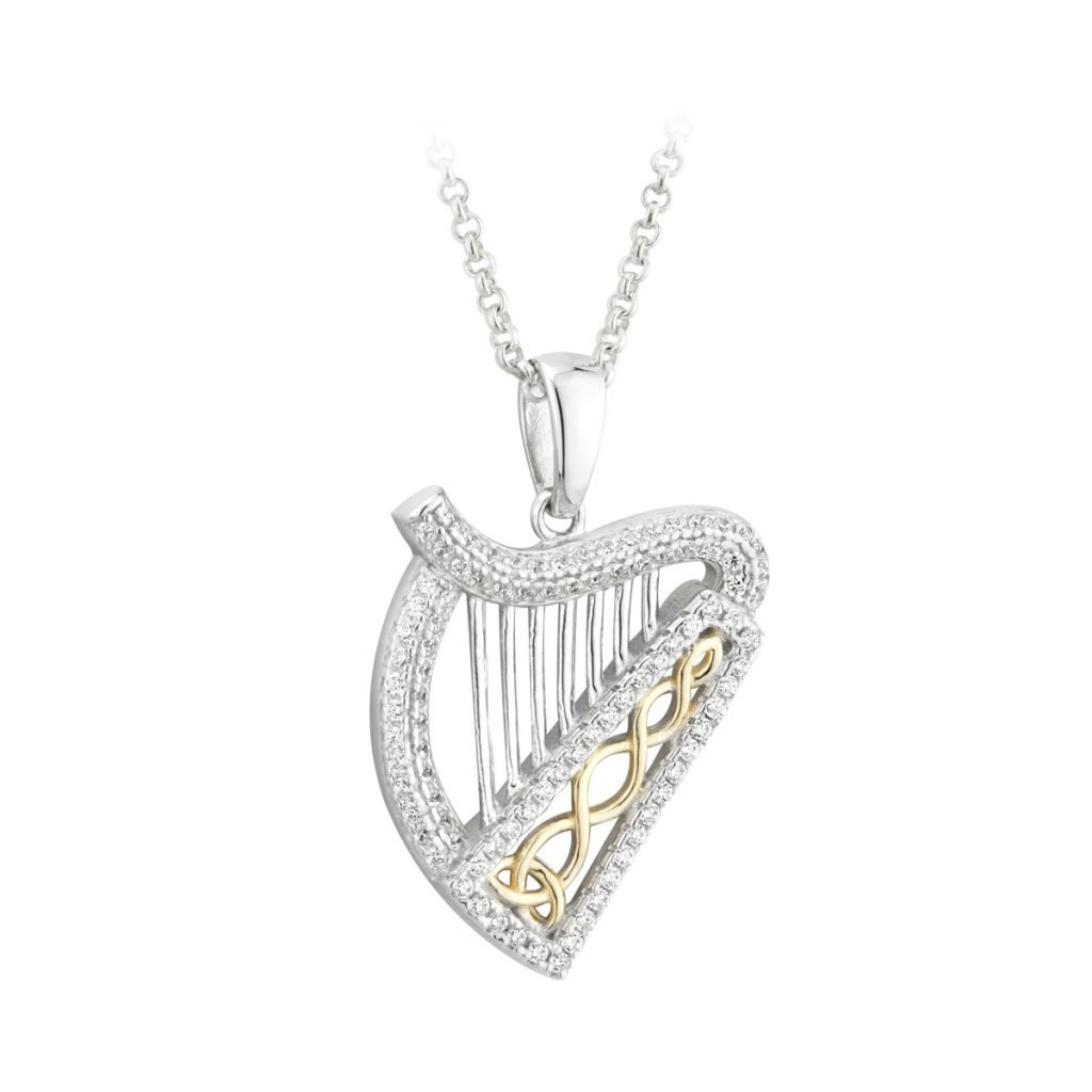 Sterling silver two tone stone set harp pendant fallers jewellers sterling silver two tone stone set harp pendant aloadofball Gallery