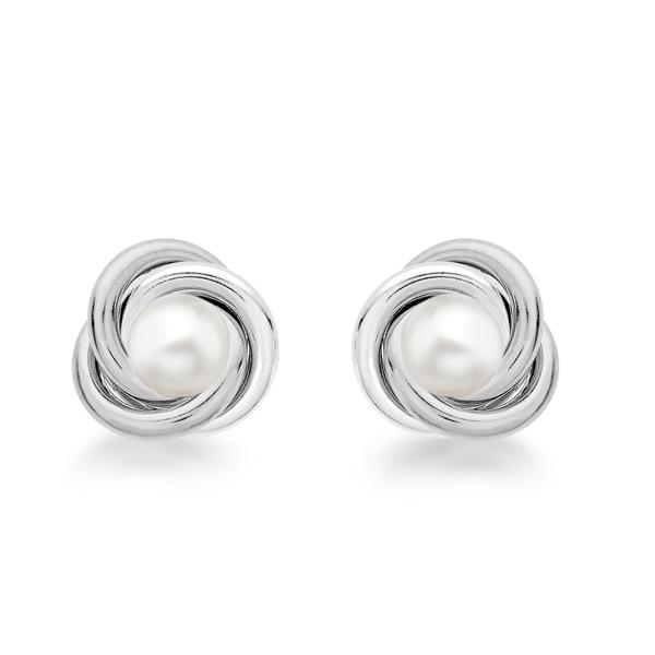 Sterling Silver Pearl Knot Stud Earrings