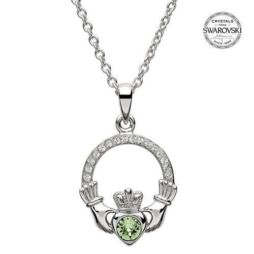 Claddagh birthstone pendant in sterling silver
