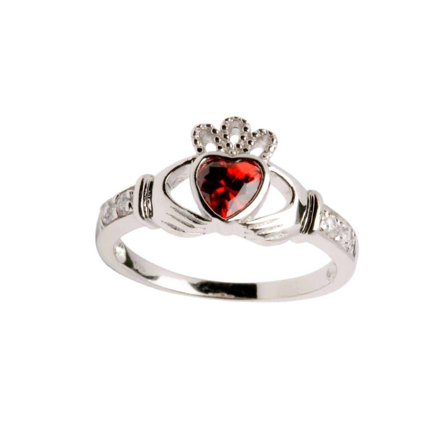 Engagement Rings Galway: Sterling Silver Birthstone Claddagh Ring