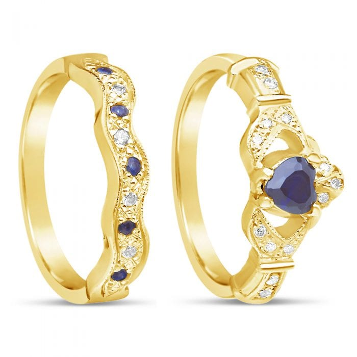 Engagement Rings Galway: 14K Sapphire & Diamond Claddagh Engagement & Wedding Ring