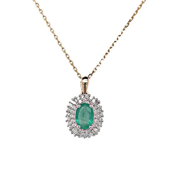 Emerald And Diamond Cluster Pendant