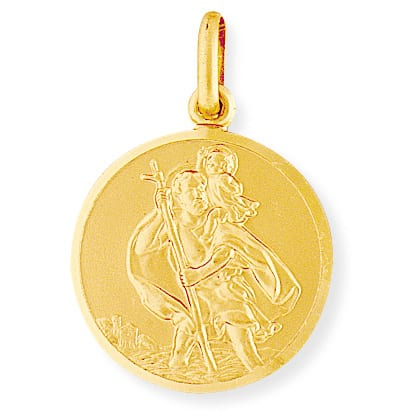 large gold st christopher medal for men
