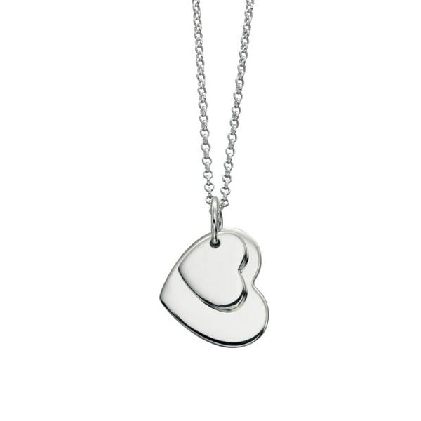 Silver Double Heart Engravable Pendant