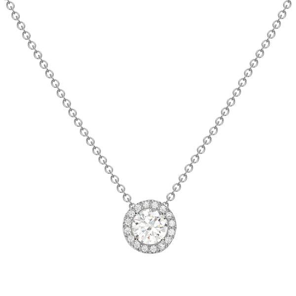 White gold cubic zirconia cluster pendant