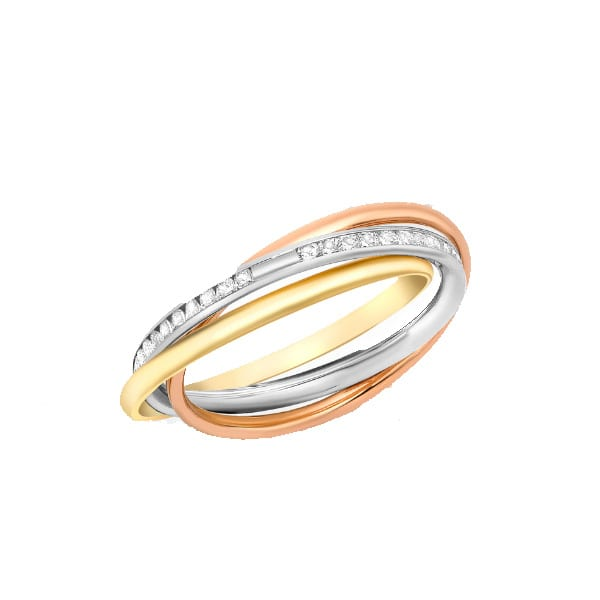 Gold russian wedding ring with stones