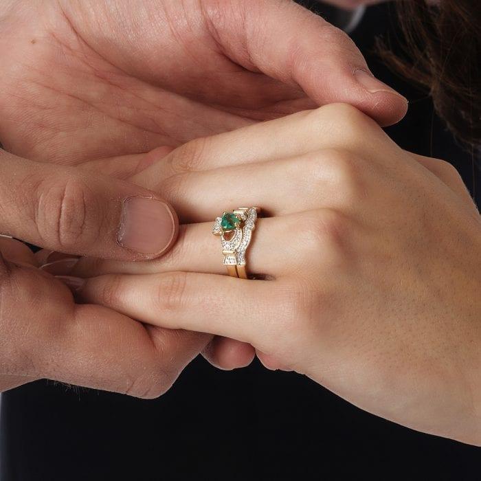 Emerald & Diamond Claddagh Engagement & Wedding Ring