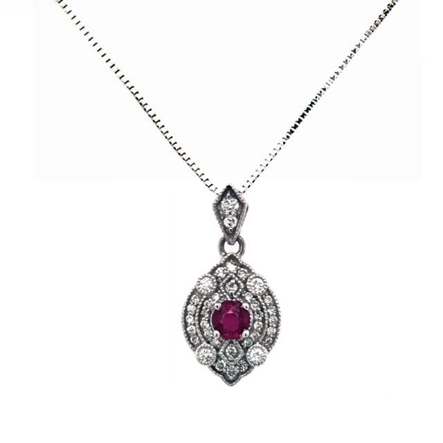 White Gold Ruby & Diamond Necklace