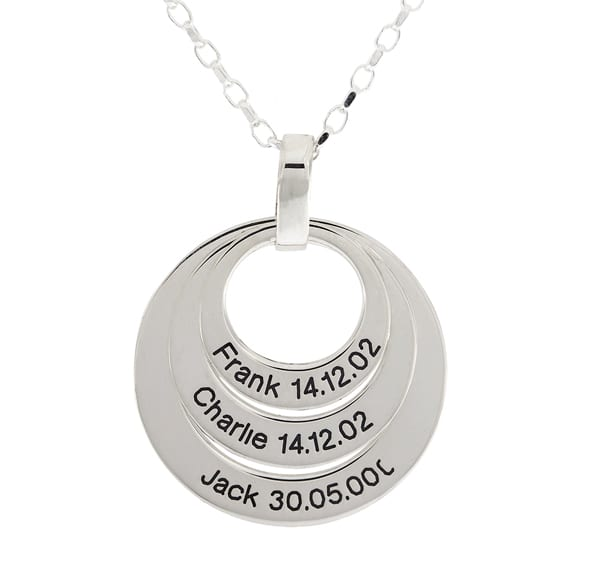 Sterling Silver Family 3 Circle Pendant