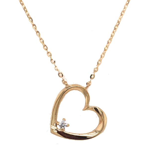9K Gold Open Heart Pendant With Stone