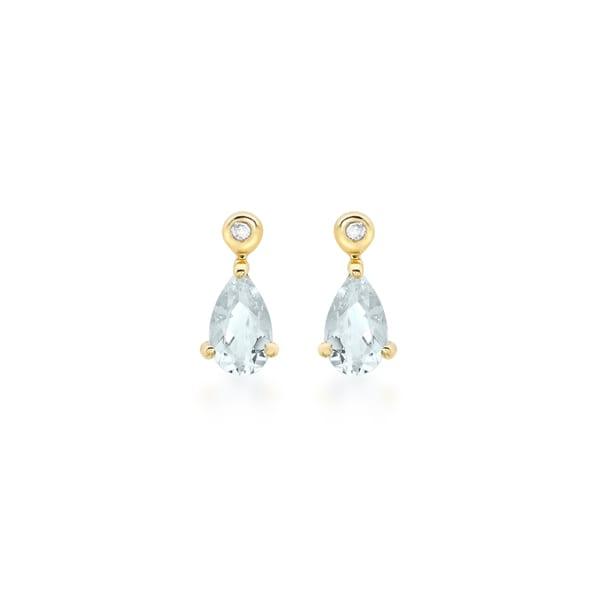 9ct Gold Aquamarine and Diamond Drop Earrings