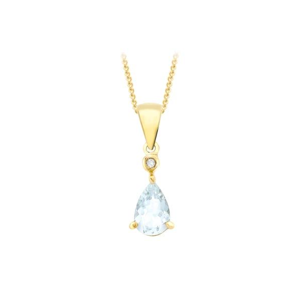 Gold Aquamarine Pendant With Diamond