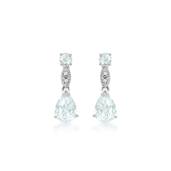 9ct White Gold Aquamarine and Diamond Vintage Style Drop Earrings