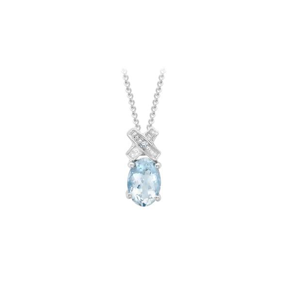 White Gold X Diamond and Aquamarine Pendant