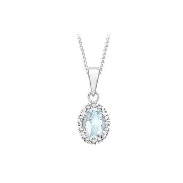 9K White Gold Aquamarine & Diamond Pendant