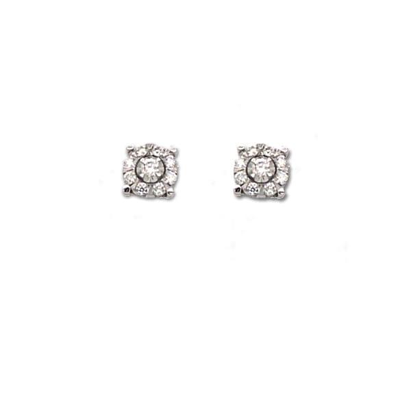 Diamond Cluster Stud Earrings White Gold